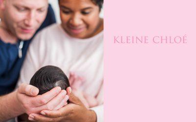 Foto's voor het geboortekaartje van Newborn Chloé